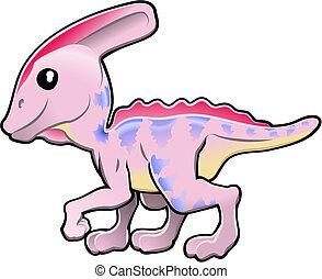 mignon, amical, dinosaure