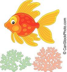 mignon, amical, fish, or, sourire