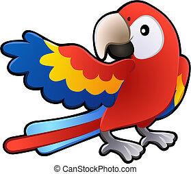 mignon, amical, macaw, perroquet, illustration