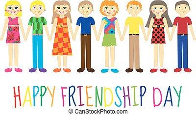 mignon, amitié, salutation, illustration, day., vecteur, carte, tenue, gosses, dessin animé, hands., heureux