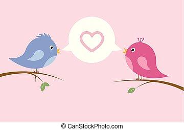 mignon, amour, asseoir, couple, branche, oiseau chant