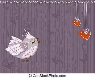 mignon, amour, carte voeux, oiseau