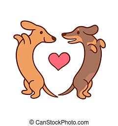 mignon, amour, dessin animé, dachshunds