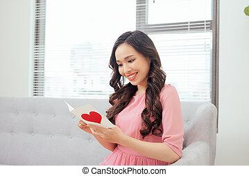 mignon, amour, elle, lecture fille, carte, petit ami