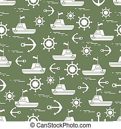 mignon, ancres, modèle, seamless, theme., bateaux, flags., marin, volants direction