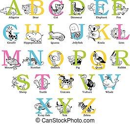 mignon, animal, alphabet