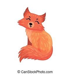 mignon, animal, illustration, orange, museau, carnivore, renard, vecteur, forêt