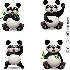 mignon, animal, panda, dessin animé