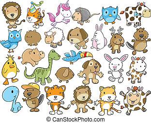 mignon, animal, vecteur, illustration, ensemble