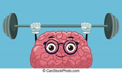 mignon, animation, dessin animé, hd, cerveau