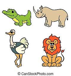 mignon, animaux, collection, zoo