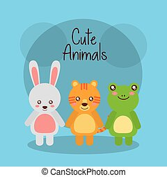 mignon, animaux, grenouille, tigre, lapin, bébé, amical