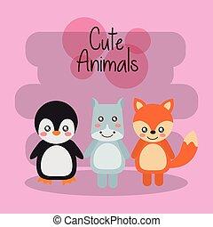 mignon, animaux, hippopotame, tigre, bébé, amical, manchots
