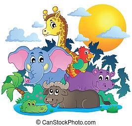 mignon, animaux, image, thème, 7, africaine