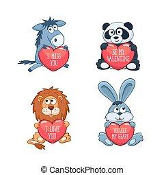 mignon, animaux, jour, valentin