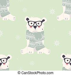 mignon, animaux, polaire, seamless, ours, motifs, joyeux noël