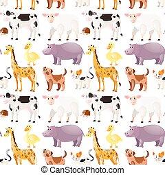 mignon, animaux, seamless, fond