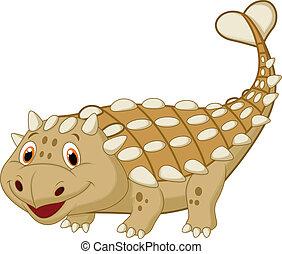 mignon, ankylosaurus, dessin animé, dinosaure
