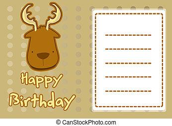 mignon, anniversaire, cerf, carte