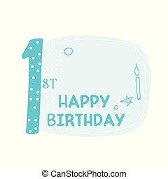 mignon, anniversaire, conception, premier, carte, heureux