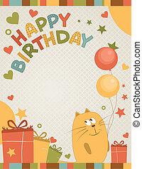 mignon, anniversaire, heureux, carte, chat