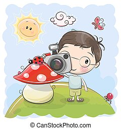 mignon, appareil photo, dessin animé, garçon