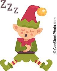 mignon, après, plat, elfe, dur, caractère, illustration, dormir, day., père noël, noël