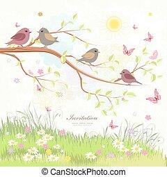 mignon, arbre, salutation, papillons, branche, oiseaux, carte