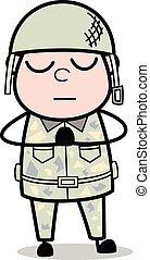 mignon, armée, -, illustration, soldat, vecteur, prière, dessin animé, homme