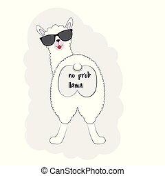 mignon, arrière, isolé, regarder, arrière-plan., lama, blanc, dessin animé, lunettes