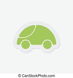 mignon, arrondi, simple, voiture, -, vert, icône