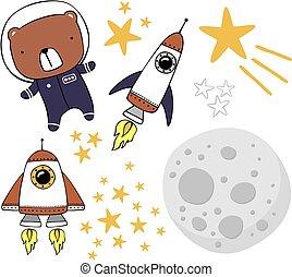 mignon, astronaute, autocollants, ours