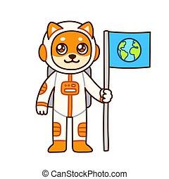 mignon, astronaute, dessin animé, chien