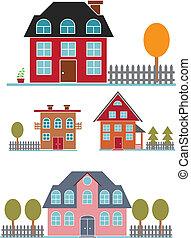 mignon, bâtiments, ensemble, famille