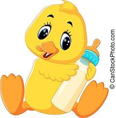 mignon, bébé, canard, dessin animé