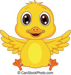 mignon, bébé, dessin animé, canard