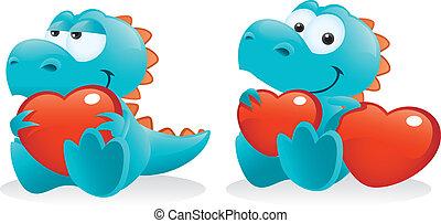 mignon, bébé, dinosaure, poser, à, cœurs