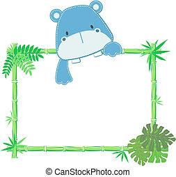 mignon, bébé, hippopotame, cadre