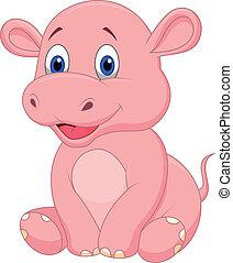 mignon, bébé, hippopotame, dessin animé