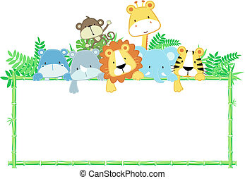 mignon, bébé, jungle, animaux, cadre