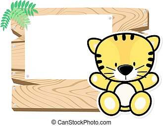 mignon, bébé, tigre, cadre