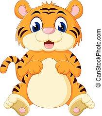 mignon, bébé, tigre