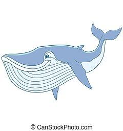 mignon, baleine, dessin animé