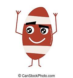 mignon, balle, character., football, américain, dessin animé