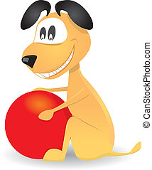 mignon, balle, chien, vecteur, jouer, rouges