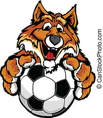 mignon, balle, renard, illustration, mascotte, vecteur, football, heureux