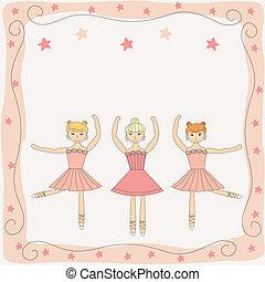 mignon, ballerines, trois, illustration, danse