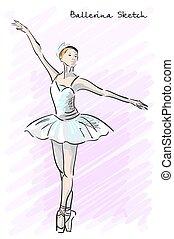 mignon, ballet, vieux, danseur, croquis, main, imitation., vecteur, dessiné, girl, style.