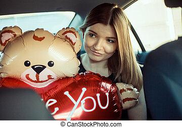 mignon, balloon, voiture., girl, valentin