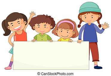 mignon, bannière, enfants, gabarit